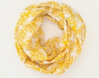 Echarpe Tube infini foulard - licornes blanches or jaunes - coton mode