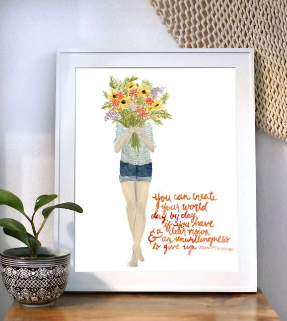 Create Your World Floral Girl art print of an original watercolor illustration