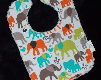 Sky Elephant Walk Chenille Bib