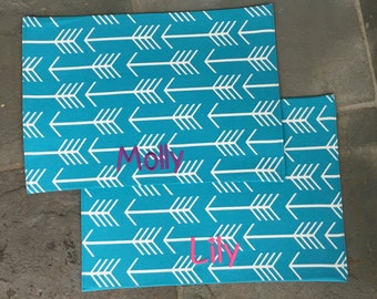 Personalized Pet Placemat || Turquoise Arrows Food + Water Bowl Dog Mat || The Best Custom Puppy Gift by Three Spoiled Dogs