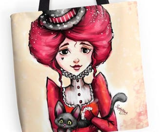 A Witch and Her Black Cat - Goth Girl Totebag - Kawaii Gothic Bags