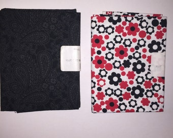 2 Fat Quarters - Cotton - Red Black and White