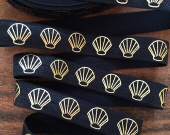 BLACK with Gold SEASHELL Fold Over Elastic, Seashell Foe, 5/8 Fold Over Elastic, Shell, Shell Elastic, Seashell Elastic by the Yard