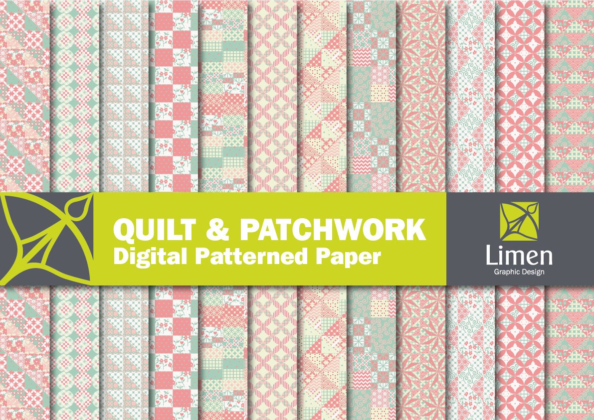 Quilt Digital Paper Pack Patchwork Paper Digital Scrapbook