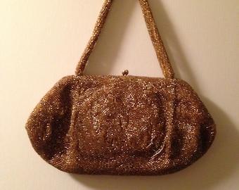 Vintage Walborg Gold Bead Evening Bag