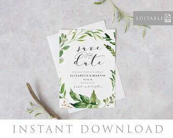Save the Date Editable pdf Template, INSTANT DOWNLOAD, Green leaves invitation, Printable Wedding invite, pdf, Digital file - Woodland