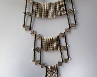 Cleopatra,necklace,gold and silver, layered, metals,  statement, geometric, handmade, contemporary,textured, sculptural,