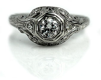 """Timeless Vintage Engagement Ring, Antique Engagement Ring, European Cut 1930's Platinum Ring AD1702 """" The Lucella"""""""