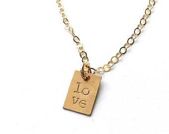 Delicate Gold Necklace, Dainty Gold Necklace, Layering Necklace, LOVE Necklace, Gift for Best Friend, Gift for Sister, Gift for Mom, Love