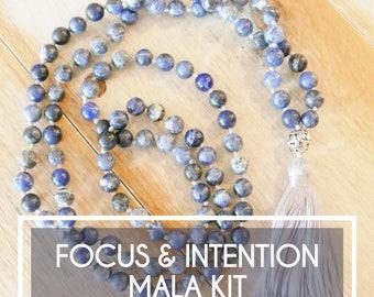 "Make Your Own Mala Necklace/Mala beads/DIY Mala/Gift For Her/Jewelry Making Kit/Tassel Necklace/Mala  ""Focus & Intention Sodalite Mala Kit"""
