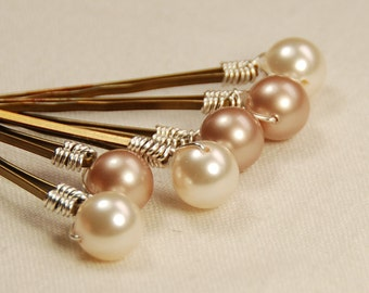 Champagne Wedding Hair Pins, Ivory & Powder Almond Pearl Bobby Pin, Bridesmaid Hair Pin, 8 mm Swarovski Pearls, Bronze Hair Pins - Set of 6
