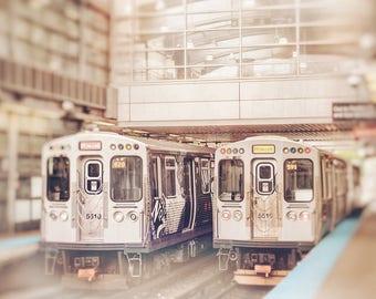 Chicago Photograph, Howard Stop, Chicago Print, Train Photography - CTA El Train, Yellow Line, Red Lines, Boys Room Decor, Urban Wall Art