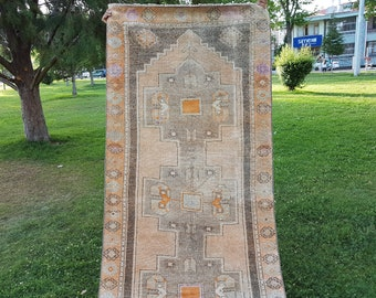 Bohemian Design Faded and Over Dyed Old Turkish Oushak Large Hallway Runner, Muted Light Tone Geometric Design Entry Carpet 3'6'' X 10'11''