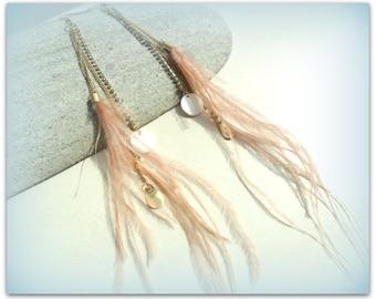 Gold Chain Tassel Peach Feather Crystal Dangle Earrings ETSY UK Shop Gold Tassel Long Stud Earrings Bridal Earrings boho Wedding