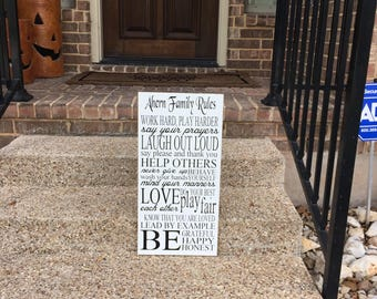 Family Rules Sign Subway Art ~House Rules Sign ~Personalized Rules Wooden Sign~In This House We~Wedding Gift~Rules Of The Family~Dining Room