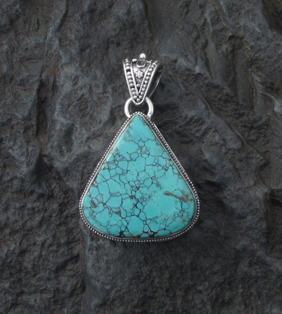 Turquoise & Sterling Silver Large Pendant - #511