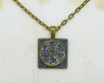 Steampunk Cog Resin Cabochon Pendant On Bronze Tone Necklace