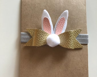 Gold Bunny Bow Headband