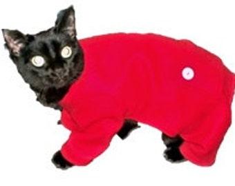 Red Fleece Longjohns Cat Pajamas-Red Fleece Cat Pajamas-Cat Pjs-Christmas Cat Clothes-Cat Onesie-Christmas Cat Pajamas-Red Christmas Pajamas