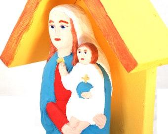 Shrine with Mother of God/ Madonna/ Madonna and a Child/ polish folk statue/ polish folk art