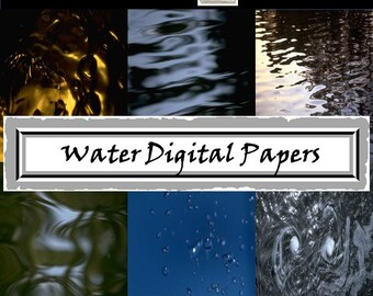 Water Digital Papers Digital Scrapbooking Papers Digital Papers for Backgrounds Art Journals Instant Download