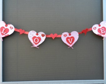 LOVE-  Red - Pink - Heart- Valentine - Banner -Garland - Wall - Hanging - Decor - Accent - Gift