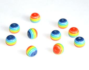 resin striped multicolored 8mm 10 beads
