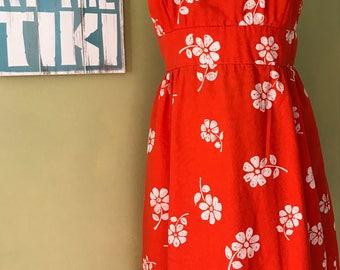 Vintage Hawaiian Halter Dress, Size Small