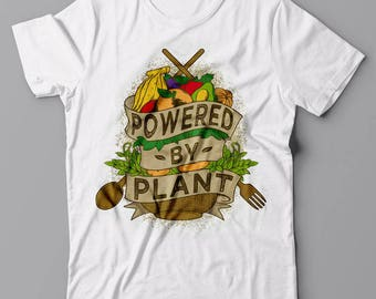 Powered By Plant T shirt - Vegan vegetarian gift idea