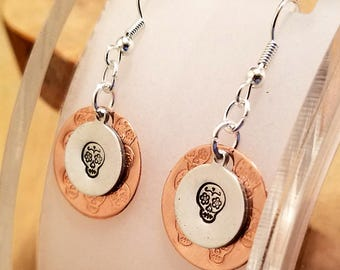 Sugar Skull layered hand stamped copper and aluminum french hook earrings
