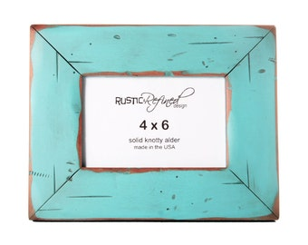 4x6 Cabin picture frame - Turquoise, Free Shipping