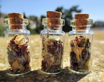 3 mini glass vials bottles set,dried flowers,cork,botanical,jewellery,handmade,craft,neacklace,pendant,dried leaves botanical vials SB2-638
