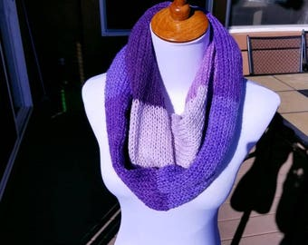 Knitted Infinity Scarf - Shades of Purple- 62""