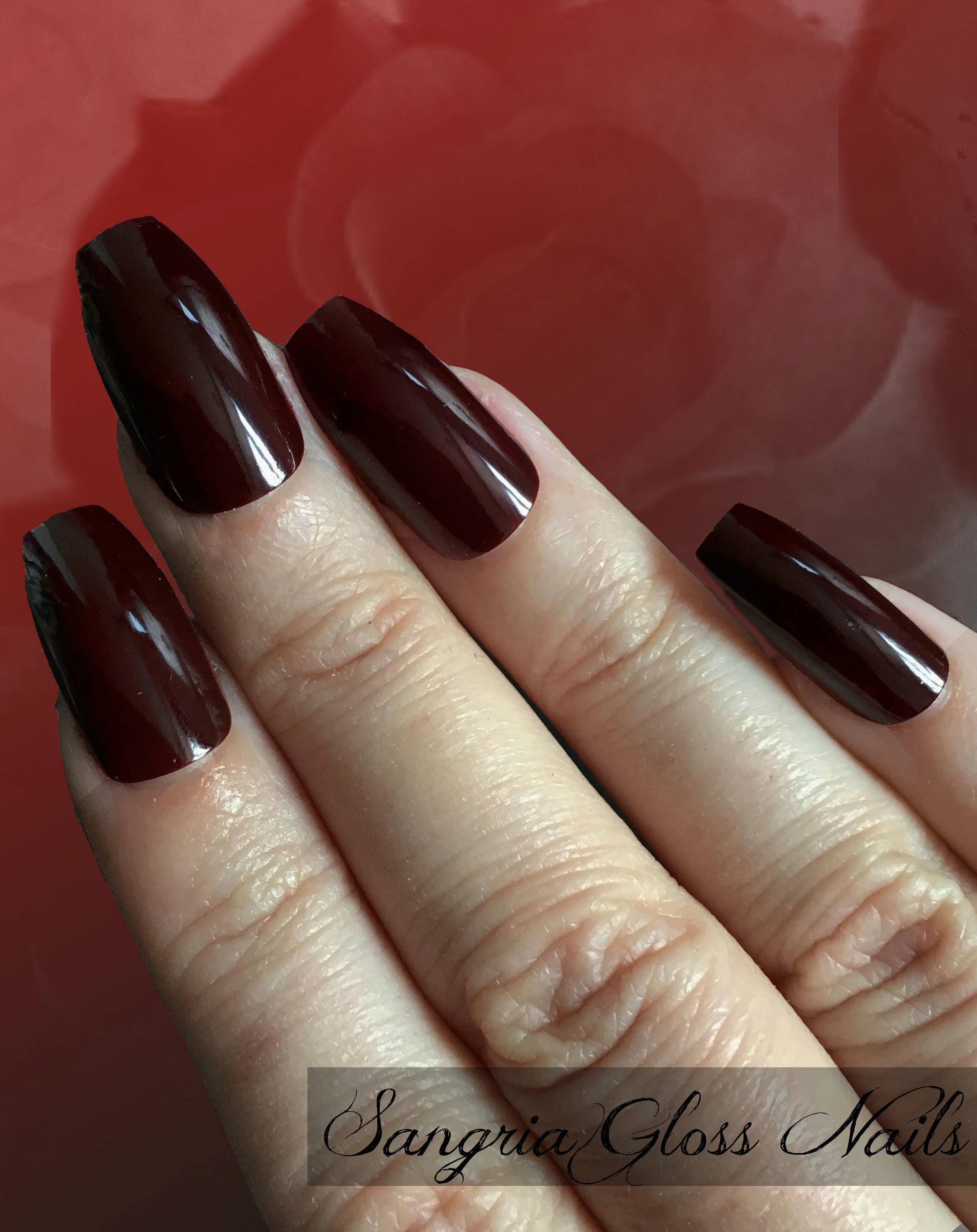 Sangria Gloss Deep Red Burgundy Nails | Square Coffin Stiletto Oval ...