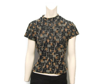 Vintage 1990's Short Sleeve Mock Turtleneck with Sheer Abstract Geometric Floral Pattern - Black, Gray and Tan