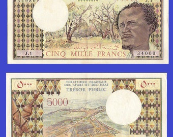 Afars and issas  5000 francs 1975  bill note banonote - Replica - Reporductions