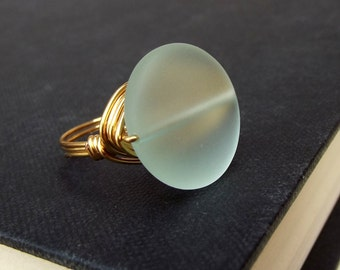 Aqua Sea Glass Statement Ring:  24K Gold Wire Wrapped Ring, Mint Green Large Stone Beach Jewelry, Size 7, Summer Statement