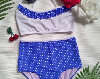 Blue Polkadot Swimsuit Ruffle Top High Waisted Retro Pin Up  Bikini Set