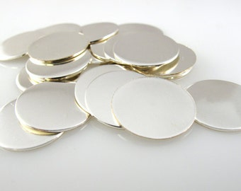 "SILVER FILLED DiSCS 5/8"" 16mm 22 Gauge New Hand Stamping  Blanks Finished Smooth Tag Jewelry Making QTY 5"