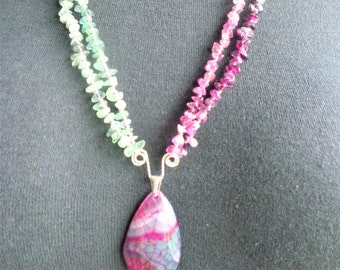 Druzy agate & rainbow fluorite necklace  sterling silver