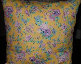 Purple Floral Pillow, 14 x 14 Decorative Pillow