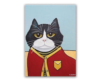 ACEO Tuxedo Cat Wearing a Sweater Art PRINT from Original Painting ATC Coworker Gift
