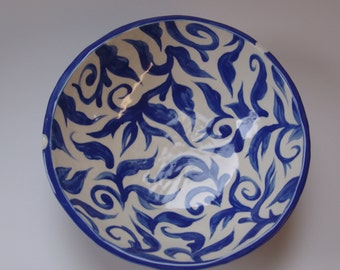 Whimsical pottery Serving Bowl delphinium blue w/ white polka-dots and hand-painted leaf print inside