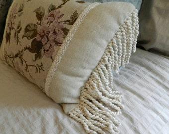 Chenille floral print oblong pillow 12x17