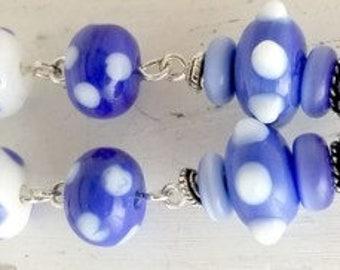 Three Tier Baby Blue and White Polka Dot Lampwork Earrings NE264