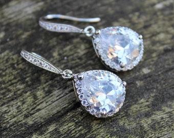 AAA cubic zirconia crystal earrings for wedding