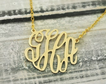 Alloy necklace, Monogram necklace, gold color alloy necklace, pensonalized name necklace, custom jewelry, monogram jewelry