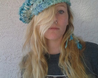 Pale Blue Crochet Beret