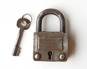 Vintage large padlock with key German metal lock Industrial decor Rustic home decor Collectible Door lock Salvaged Stahlhart Burg