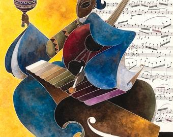 "MUSICA ,  18"" X 24""  (45,76 cm X 60,96 cm) Balafon Painting Giclee Print"